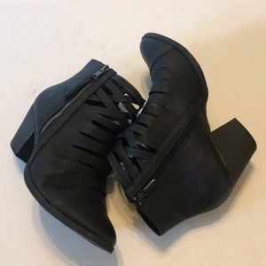 Torrid strappy side zipper booties black size 10W